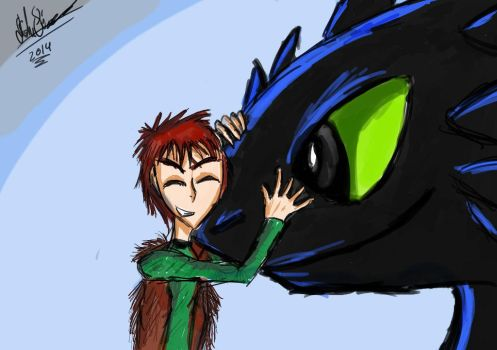 Hiccup and Toothless by TheDarkJAvenger