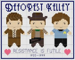 DeForest Kelley Cross Stitch by black-lupin