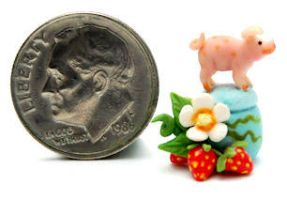 PIG PIGLET STRAWBERRY BLOSSOM by WEE-OOAK-MINIATURES