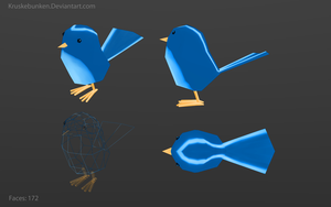 Low poly blue bird 1k pageviews bonus by Kruskebunken