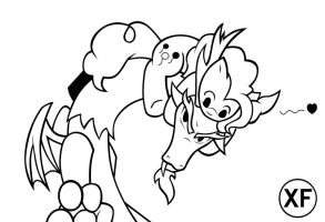 discord and pinkie pie lineart by xilefti