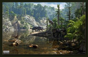 Jungle With Dinosaurs by neanderdigital