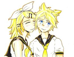 Kagamine Rin and Len by thatMasterMind