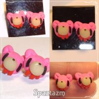 Gloomy bear stud earrings by spaztazm