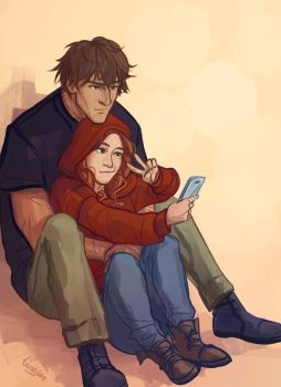 Scarlet and Wolf selfie by taratjah