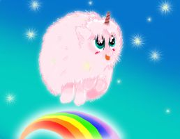 Pink Fluffy Unicorns Dancing on Rainbows~! by Spin-Art