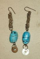 Egyptian Steampunk Scarab Earrings by SacredJourneyDesigns