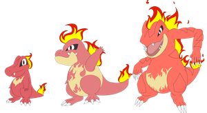 Fire Totodile Evolution line by EvilFurrySkull