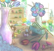 Tiny in floral shop by Friendlyfoxpal