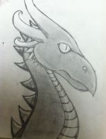 Pencil Sketch of a Dragon Head by draggydrago
