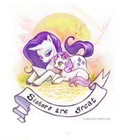 Rarity and Sweetie Belle by Linnpuzzle