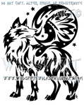 Starry Wolf And Indian Moon Design by WildSpiritWolf