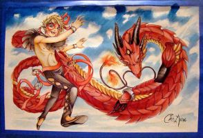 Ekua Dancer Dragon Watercolor by DarkMousysMinion
