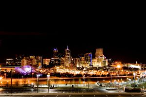 Downtown Denver Skyline Night by designKase