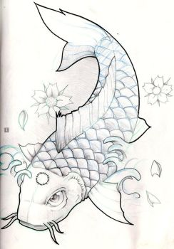 koi fish pencil sketch by olimueller