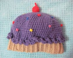 Crochet Purple Cupcake Hat by neonjello17
