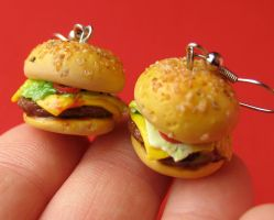 Fast Food Burger Earrings by MotherMayIjewelry