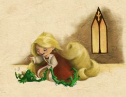 Rapunzel and Her Pet Bird by BetterthanBunnies