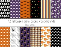 Halloween digital papers / backgrounds by PeculiarPrintables