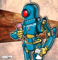 Robot with Ice Cream by Pencilbags