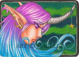 Unicorn Goddess ACEO by Magelet