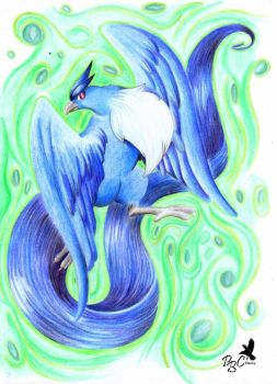 magical green_articuno by pitch-black-crow