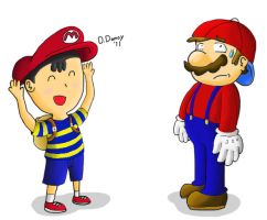 Mario and Ness by Dee-Artist