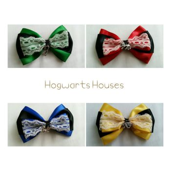 Hogwarts House Bows by inasabrina