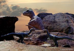 T-Rex and Troodon by Carnosaur