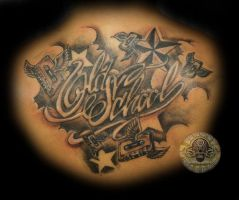 stars wings tape lettering tat by 2Face-Tattoo
