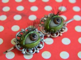 Eyeball Hair Clips With Eyelashes-Polymer Clay by ThePetiteShop