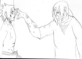 Sasuke and Itachi's last moment sketch by tigernose123