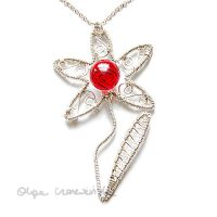 Red flower pendant by OlgaC