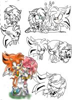 Ember and Solar sketches by Blinded-Djinn