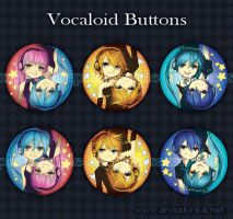 Vocaloid Buttons by anikakinka