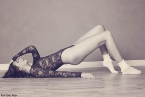Alli in the AA Lace Bodysuit and Socks BW 09 by RaymondPrax
