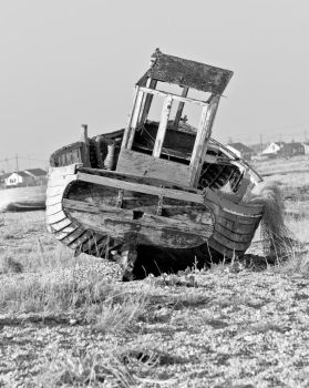 Abandoned fishing boat at Dungeness by SeanCatt
