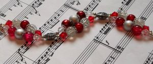 Red and silver two strand bracelet by TerraNovaJewels