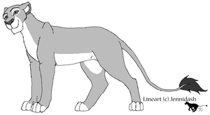 Free MS Paint Friendly Lioness Lineart by Jennidash