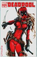 Lady Deadpool variant cover by PlanetDarkOne