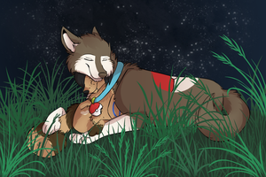 A cuddle on a stary night by Mishamutt