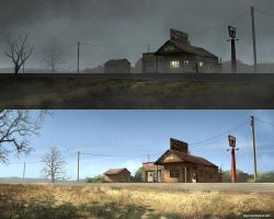 Old Gas Station - Foggy Day vs Sun-lit Day by stayinwonderland
