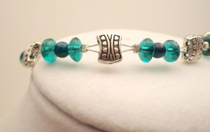 Teal Glass and Silver Set 14 by TheSortedBead
