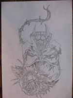 vampire skull with barbewire blood rose by Jokerace13