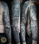 skull horror viking military armsleeve 3 by 2Face-Tattoo