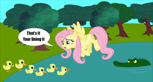 A Crocodile Stalking Fluttershy Teaching Ducklings by Zacharygoblin55