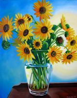 Wild Sunflowers in Glass Vase by TernFeather