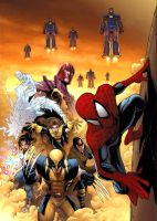 spidey, x-men, magneto by deemonproductions