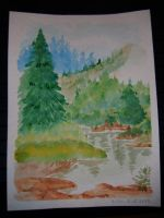 Mountain and River by valilia