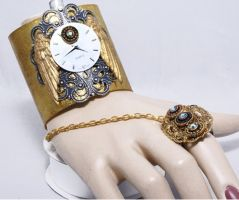 Tethered in time cuff w ring by Crucifer01